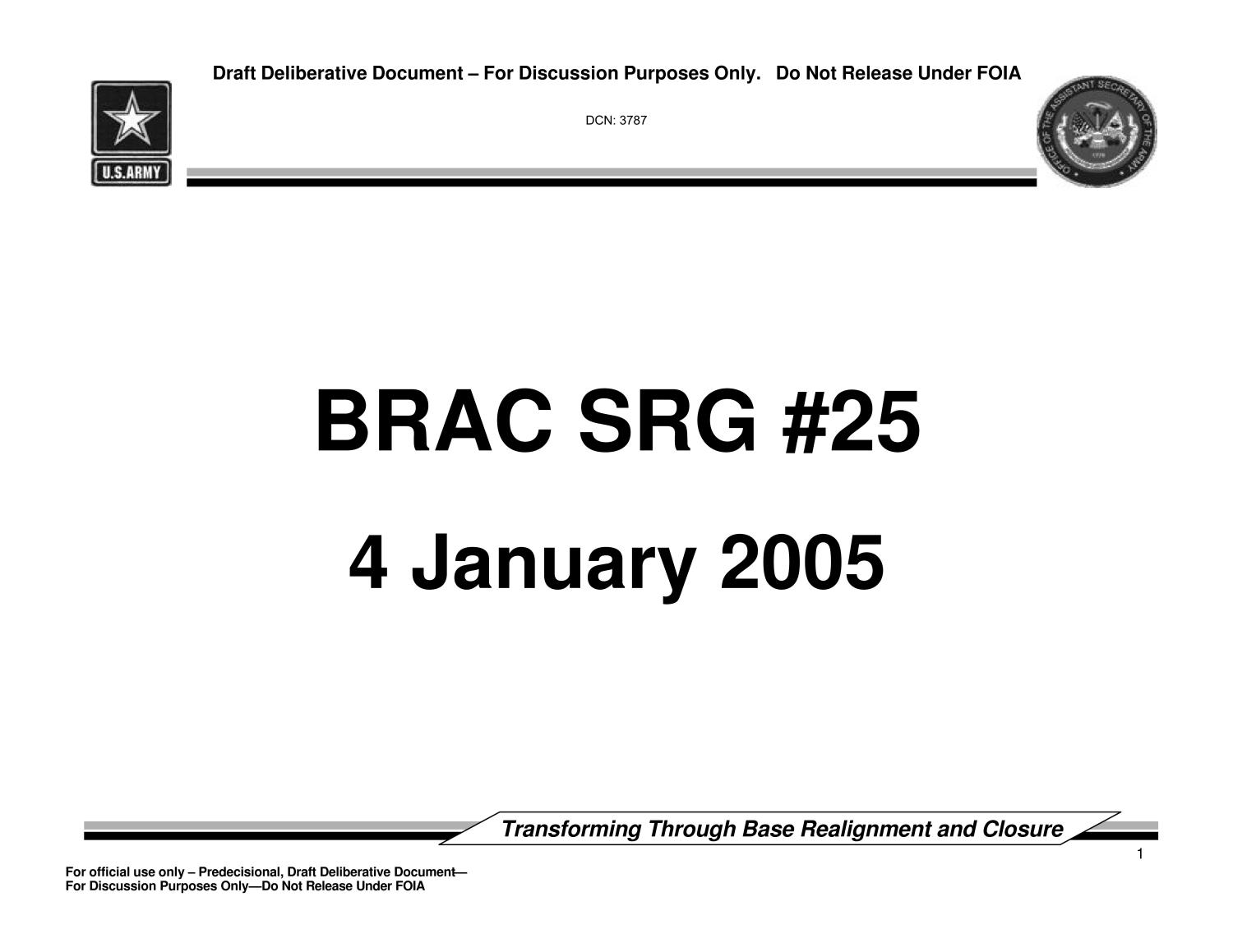 Army - Surge #25 - January 4, 2005- Briefing and Minutes                                                                                                      [Sequence #]: 1 of 95