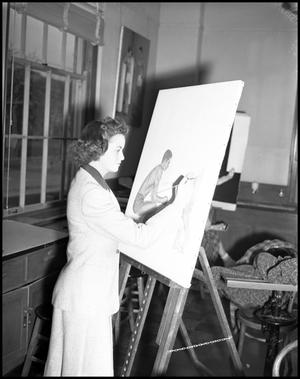 Primary view of object titled '[Dora Katherine Adams painting on easel at North Texas State Teachers College]'.