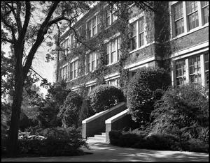 Primary view of object titled '[East side of Administration Building at North Texas State Teachers College]'.
