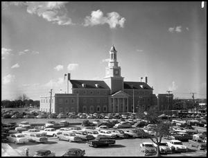 Primary view of object titled '[North side of Administration Building at North Texas State College, from parking lot (#3)]'.