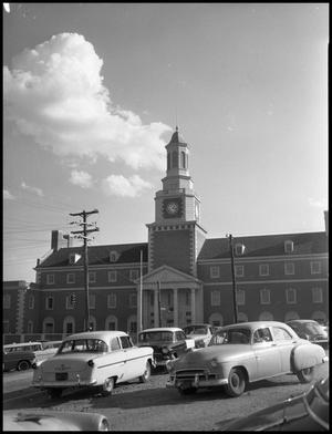 Primary view of object titled '[North side of Administration Building at North Texas State College, from parking lot (#4)]'.