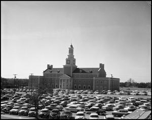 Primary view of object titled '[North side of Administration Building at North Texas State College, from parking lot (#5)]'.