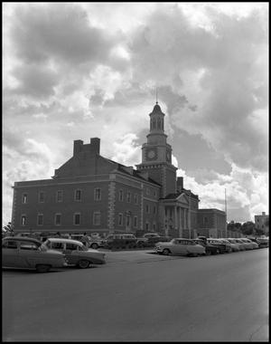 Primary view of object titled '[East and north sides of Administration Building at North Texas State College, from Chestnut Street]'.