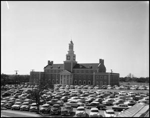 Primary view of object titled '[North side of Administration Building at North Texas State College, from parking lot (#6)]'.