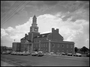 Primary view of object titled '[North and west sides of Administration Building at North Texas State College, from Chestnut Street (#1)]'.