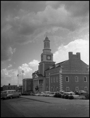 Primary view of object titled '[North and west sides of Administration Building at North Texas State College, from Chestnut Street (#2)]'.