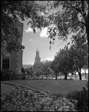 Primary view of object titled '[Hurley Administration Building - Campus Grounds]'.