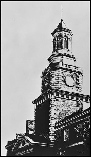 Primary view of object titled '[Halftone Image of McConnell Tower, December 1962]'.
