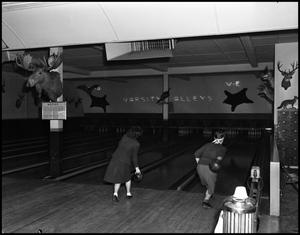 Primary view of object titled '[Varsity Alleys Bowling Alley, 1942]'.