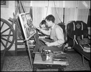 Primary view of object titled '[Man Painting on Canvas]'.