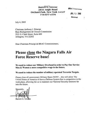Primary view of object titled 'Letter from Barrett G. Greene- Niagara Falls Air Force Reserve base in Support of Closing the Base'.