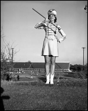 Primary view of object titled '[Marching Band Majorette on Field]'.