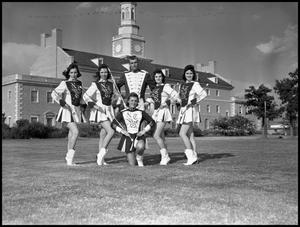 Primary view of object titled '[Marching Band Baton Twirlers and Majorettes Group Photo]'.