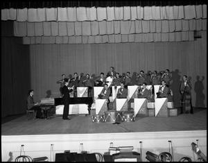 "Primary view of object titled '[Band - Stage #1 - With ""Fessor"" Graham - 1942]'."
