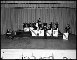 "Primary view of object titled '[Band - Stage #2 - With ""Fessor"" Graham - 1942]'."