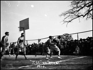 Primary view of object titled '[Basketball Game #3- Men - Outdoors - NTSN vs TU - 1914]'.