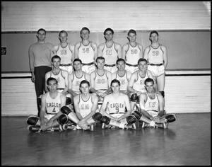 Primary view of object titled '[Basketball Team Group Photograph - Men - Freshman - 1942]'.