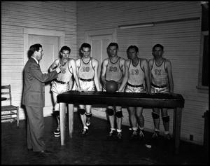 Primary view of object titled '[Five Athletes Basketball Athletes & Coach, 1940s]'.