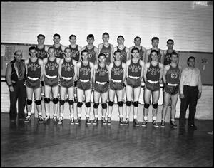 Primary view of object titled '[Men's Basketball Team with Coaches, 1950s]'.