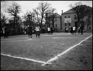 Primary view of object titled '[Basketball #1 - Women - Game - Outdoors - 1900s]'.