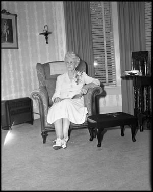 Primary view of object titled '[Mrs. O. D. Bell Sitting in Chair]'.