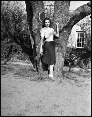 Primary view of object titled '[Emma Bernal in Front of a Tree]'.