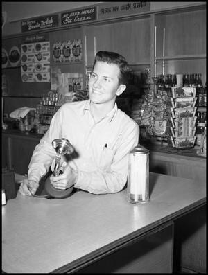 Primary view of object titled '[Pat Boone Convenience Store Portrait]'.