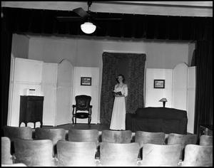 Primary view of object titled '[Broadfoot, Alice - Speech Recital on Stage - 1946]'.