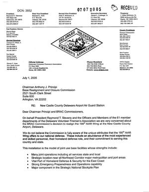 Primary view of object titled 'Letter from the Delaware Volunteer Fireman's Association to Chairman Principi dtd 1 July 2005'.