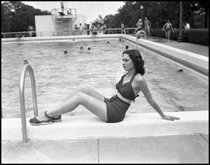 Primary view of object titled '[Dorothy Burch Sitting by the Pool]'.