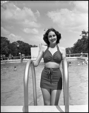 Primary view of object titled '[Dorothy Burch Exiting the Outside Pool]'.