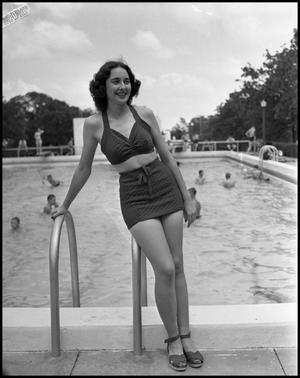 Primary view of object titled '[Dorothy Burch with Railing of a Pool]'.