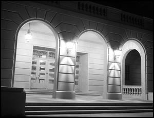 Primary view of object titled '[Business Administration Building Entrance Up Close at Night - Exterior - 1960]'.