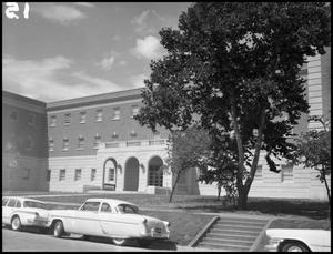 Primary view of object titled '[Business Administration - Building - Exterior - Tree side #3]'.