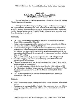 Primary view of object titled 'Technical Cross-Service Group - Meeting Minutes of January 30, 2004.'.