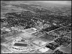 Primary view of object titled 'Campus - Aerial - Fouts Field - 10/1951'.