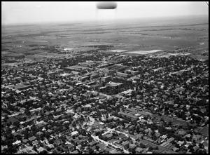 Primary view of object titled '[Campus - Aerial - Curry Hall - 7/1950]'.