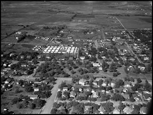Primary view of object titled '[Campus - Aerial - Military Barracks - 11/1946]'.