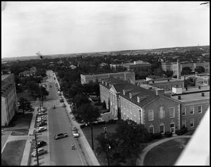 Primary view of object titled '[Campus - Aerial - Library from Administration building view - 11/1946]'.