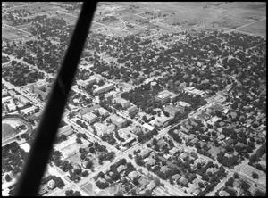 Primary view of object titled '[Campus - Aerial - Administration Bldg., right center - 8/1947]'.
