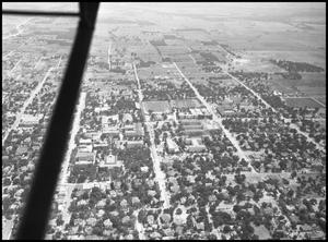 Primary view of object titled '[Campus - Aerial - Welch St. over to Ave. C - 1947]'.