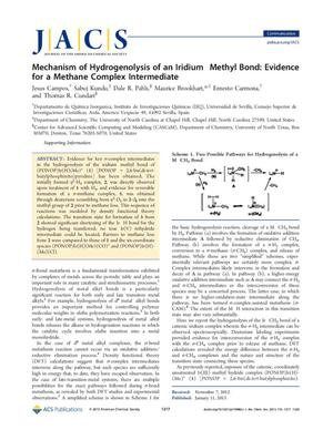 Primary view of object titled 'Mechanism of Hydrogenolysis of an Iridium Methyl Bond: Evidence for  a Methane Complex Intermediate'.