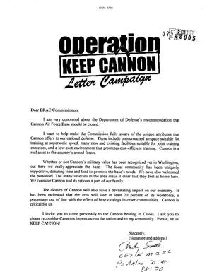 Primary view of object titled 'Community Correspondence From Citizens of Cannon AFB'.