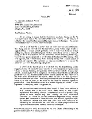 Primary view of object titled 'Letter from Stephen D. Smith Regarding 23 Air National Guard bases'.