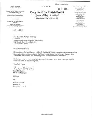 Primary view of object titled 'Letter from New York Representative Brian Higgins to the BRAC Chairman Anthony J. Principi dtd 14 July 2005'.