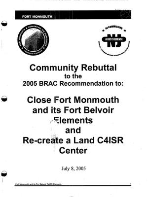Primary view of object titled 'Community Rebuttal to the 2005 BRAC Recommendations To Close Fort Monmouth'.