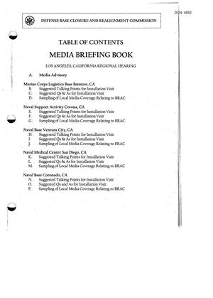 Primary view of object titled '103-06A - RH14 - Media Briefing Book Regional Hearing 7-14-05 - Los Angeles CA'.