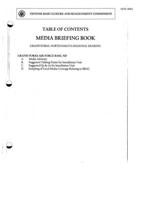 Primary view of object titled '103-06A-RH5 - Media Briefing Book Regional Hearing - 6-23-05 - Grand Forks, ND'.