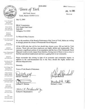 Primary view of object titled 'Letter from the Town of York Maine Board of Selectmen to the BRAC Commission dtd 12 July 2005'.