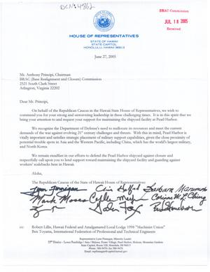 Primary view of object titled 'Letter from Republican caucus of the State of Hawaii House of Representatives to Chairman Principi dtd 27 June 2005'.